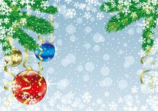 Festive background with balls. Festive background with balls and snowflakes on a blue background Stock Photo