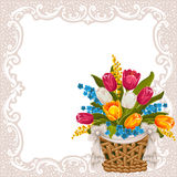 Festive background. With basket full of flowers Royalty Free Stock Images