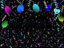 Festive background. Beautiful festive background with confetti balloons and heart Stock Photos