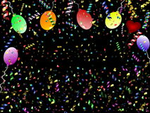 Festive background. Beautiful festive background with confetti balloons and heart Stock Image