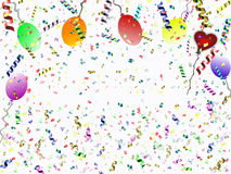 Festive background. Beautiful festive background with confetti balloons and heart Royalty Free Stock Photos
