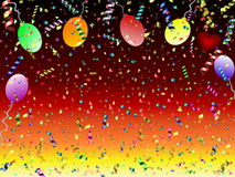 Festive background. Beautiful festive background with confetti balloons and heart Stock Photo