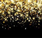 Festive background. Black festive background with golden confetti. Vector illustration Stock Photo