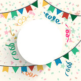 Festive background with blank frame. Festive celebration background decorated with colorful bunting and confetti with blank frame for your text Stock Images