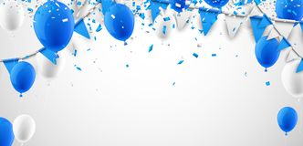 Background with flags and balloons. Festive background with blue and white flags and balloons. Vector illustration Stock Image