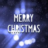 Festive background with blurred sparks. Blurred background with sparks and white 3D lettering - MERRY CHRISTMAS. Vector eps 10 Royalty Free Stock Images