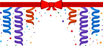 Festive background. Festive border with serpentine and red ribbon. Eps 10 Stock Photography