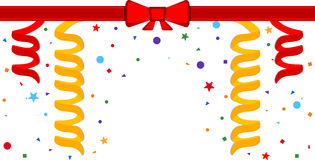Festive background. Festive border with serpentine and red ribbon. Eps 10 Royalty Free Stock Photo