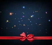 Festive background with bow. Festive blue background with red bow. Vector illustration Royalty Free Stock Photography