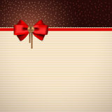 Festive background with bow. Festive background for greeting text with red bow and decorative gold ornaments Royalty Free Stock Images