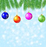 Festive background with the branches of christmas tree and varic. Oloured balls,  vector  illustration Royalty Free Stock Photography