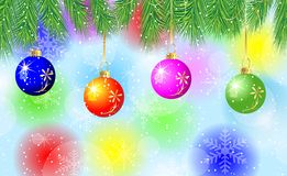 Festive background with the branches of christmas tree and varic. Oloured balls,  vector  illustration Royalty Free Stock Image