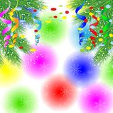Festive background with the branches of christmas tree. Vector  illustration Royalty Free Stock Photos