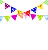 Festive background with bright small flags Stock Photo