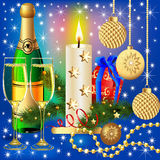 Festive background with candle ball and gift. Illustration festive background with candle ball and gift Stock Images