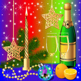 Festive background with candle by ball by orange Stock Photo