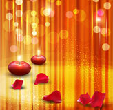 Festive background with candles. Vector festive background with candles and rose petals Stock Photography