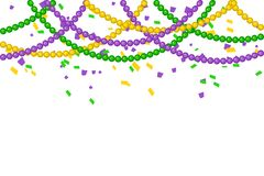 Festive background for carnival, festival. Vector Bright Colorful scattered seamless paper confetti border isolated on white background. Bright beads. Falling Stock Photography