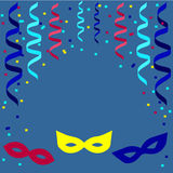 Festive background with carnival masks, confetti and paper streamers. 