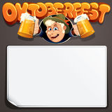 Festive background with Cartoon Man. Oktoberfest 2017 Vector Image For Text and Design Royalty Free Stock Photography