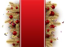 Festive background with Christmas balls. Red New Year background with fir branches and Christmas balls. Vector illustration Stock Image