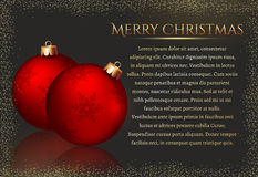 Festive background with Christmas balls. Vector card. Royalty Free Stock Photo