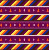 Festive background with christmas bells and snow flakes. Cute festive multicolor seamless striped background with christmas bells and snow flakes. Vector vector illustration