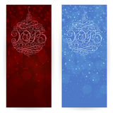 Festive background with Christmas decorations 2015. Set of festive backgrounds in dark-red and blue colours with ornamented Christmas tree decorations with Stock Photography