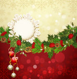 Festive background with Christmas garland. And balls Stock Images