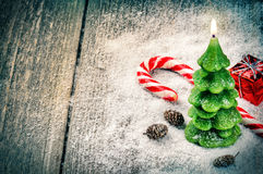 Festive background with Christmas tree candle Royalty Free Stock Photo