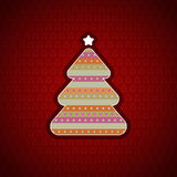 Festive background with Christmas tree. Greeting card with dark-red patterned background and a stylized Christmas tree in the center Stock Photos