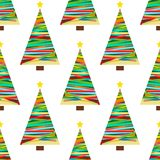 A festive background with Christmas tree. A seamless pattern with yellow stars. A festive background with Christmas tree. A seamless pattern with yellow stars Royalty Free Stock Images