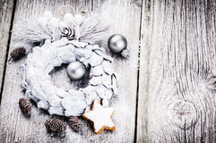 Festive background with Christmas wreath Stock Photography