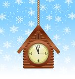 Festive background with a clock in form house. Vector illustration Royalty Free Stock Photo