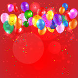 Festive background with color balloons. Festive red background with color balloons. Place for text Stock Image