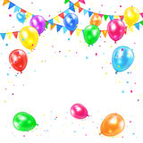 Festive background. With colored balloons and confetti, illustration Stock Photography