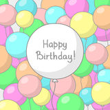 Festive background with colored balloons. Festive background with multicolored balloons and big white balloon in the center with place for congratulatory text Royalty Free Stock Photos