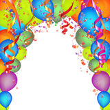 Festive Background. Festive  background with colorful balloons and confetti Royalty Free Stock Photo