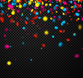 Festive background with colorful confetti. Black checkerboard festive background with colorful confetti. Vector illustration Royalty Free Stock Photography