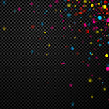Festive background with colorful confetti. Black checkerboard festive background with colorful confetti. Vector illustration Stock Photos