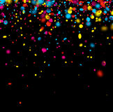 Festive background with colorful confetti. Black festive background with colorful confetti. Vector illustration Royalty Free Stock Images