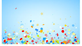 Festive background with colorful confetti. Blue festive background with colorful figured confetti. Vector paper illustration Royalty Free Stock Image