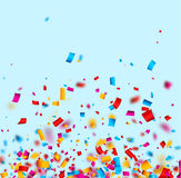 Festive background with colorful confetti. Festive blue background with colorful confetti. Vector paper illustration Royalty Free Stock Photo