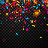 Festive background with colorful confetti. Festive checkered background with colorful confetti. Vector paper illustration Stock Photography