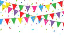 Festive background with colorful confetti and flags. Party banner. Vector illustration.  Royalty Free Stock Photography