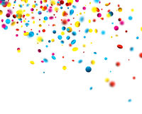 Festive background with colorful confetti. White festive background with blurred colorful confetti. Vector paper illustration Royalty Free Stock Images