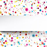 Festive background with colorful confetti. White festive background with blurred colorful confetti. Vector paper illustration Stock Images