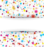 Festive background with colorful confetti. White festive background with blurred colorful confetti. Vector paper illustration Royalty Free Stock Photography
