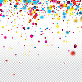 Festive background with colorful confetti. White checkered festive background with colorful confetti. Vector illustration Royalty Free Stock Photography