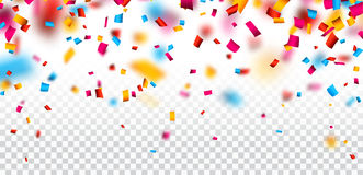 Festive background with colorful confetti. White festive checkered background with colorful confetti. Vector paper illustration Royalty Free Stock Photography
